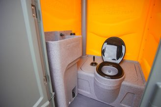 picture of inside of portable toilet for hire